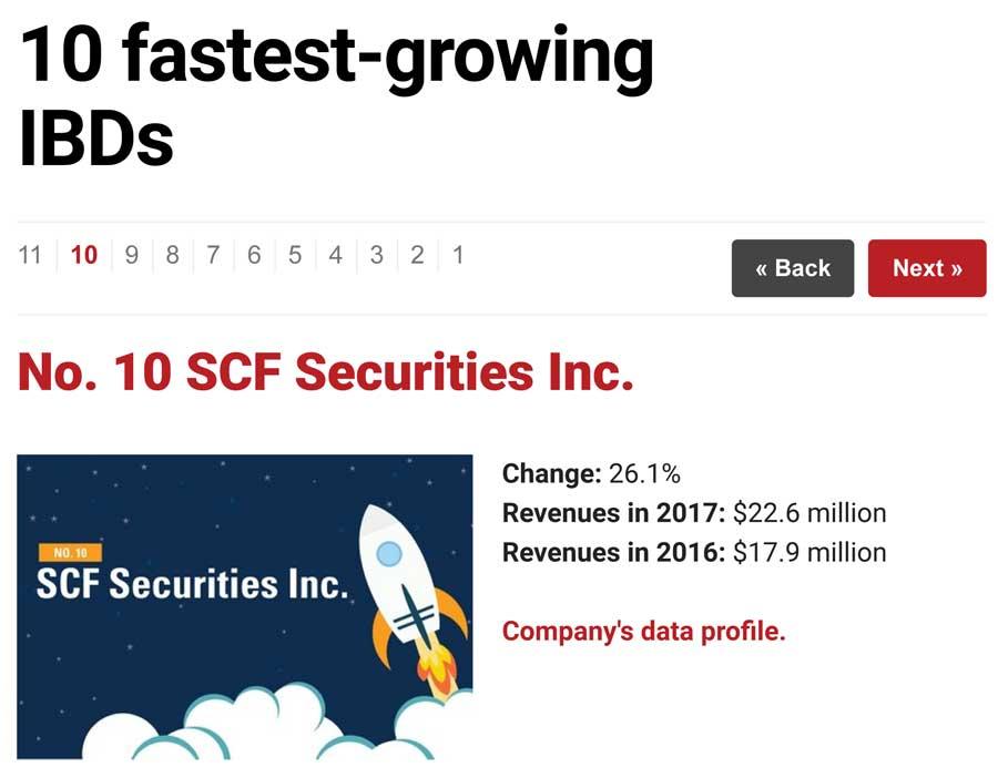 10th Fastest Growing Broker Dealers